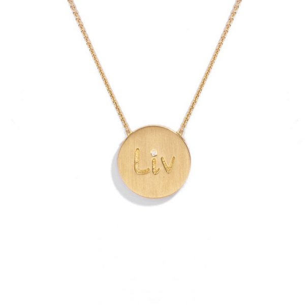 Engraved necklace with diamond