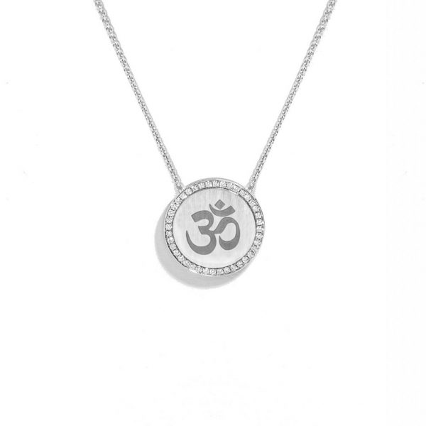 Engraved Om necklace surrounded with diamonds