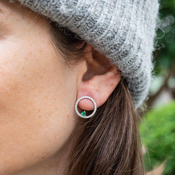 Emerald Diamond Hoop Earrings