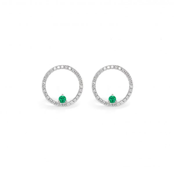 Emerald Diamond Hoop Earrings